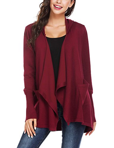 Mofavor Womens Open Front Casual Flowy Long Kimono Knit Cardigan Sweater With Pockets Wine Red S by Mofavor (Image #4)