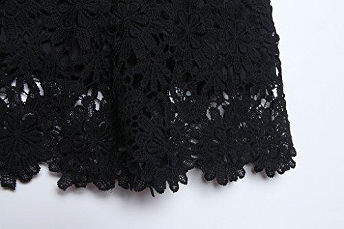 FanShou Women's Lace Flower Short Black XXL