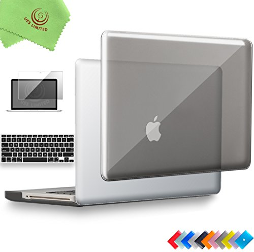"Price comparison product image UESWILL 3in1 Glossy Crystal Clear See Through Hard Shell Case Cover for MacBook Pro 13"" with CD-ROM (Non-Retina)(Model:A1278) + Keyboard Cover and Screen Protector + Microfibre Cleaning Cloth,  Gray"