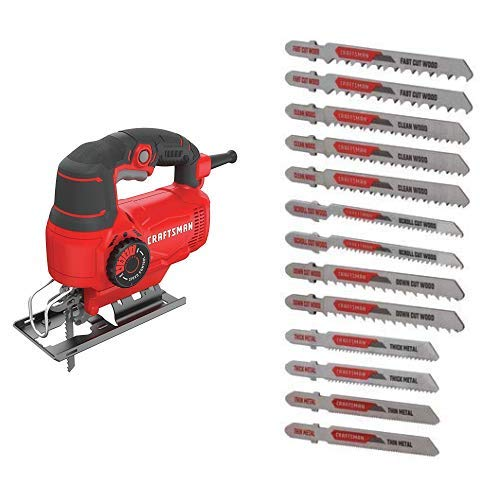 CRAFTSMAN Jig Saw, 5.0-Amp with Jigsaw Blades, T-Shank Set, 13-Piece CMES610 CMAJ1SET13