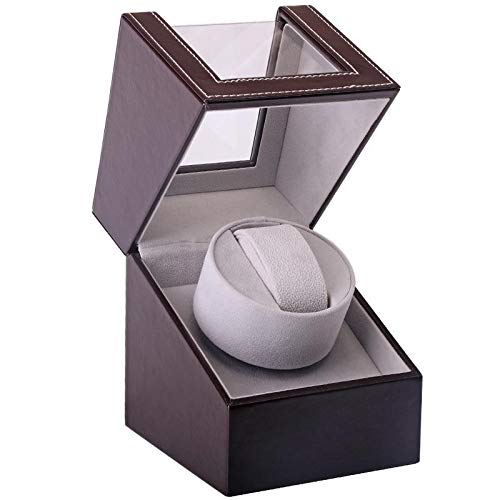 FOONEE Automatic Single Watch Winder with Quiet Motor, High-Grade PU Leather Watch Display Box, Self-Winding Watch Organizer, Brown