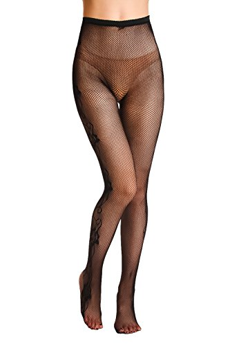 DittyandVibe Womens High Waisted Floral Lace Seamless Flexible Fishnet Pantyhose Black -