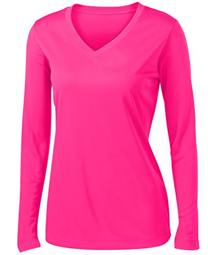 Animal Den Ladies Long Sleeve Moisture Wicking Athletic Shirts Sizes XS-4XL NEOPNK-2XL