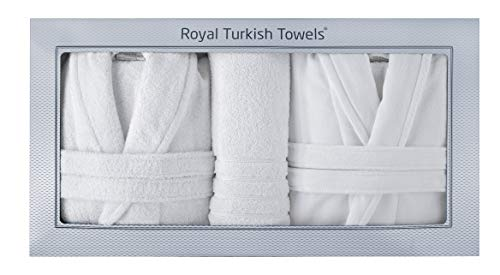 Groom Bath Bride - Classic Turkish Towels Couple Robes - 100% Turkish Cotton His and Hers Robes - Plush and Soft Bath Robes Unisex for Luxurious Experience (One Size Fits All) - Combo Pack of 2 Robes and 6 Pc Towel Set