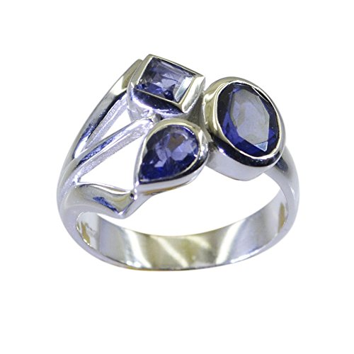 Iolite Ring (55Carat Natural Gemstone Oval Shape Iolite Ring Silver For Men Women In Size US 5,6 ,7,8,9,10,11,12,13)
