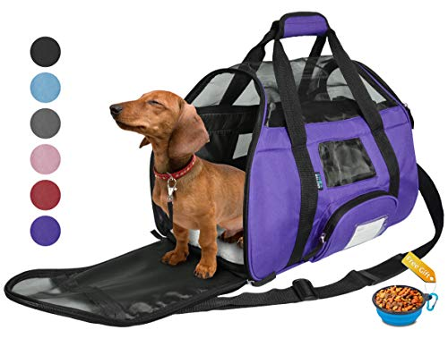 Tirrinia Soft Sided Pet Carrier Travel Bag for Small Dogs and Cats Small Animals Airline Approved with Removable Sherpa Lining Bed and Lost & Found Tag Purple