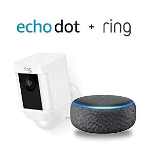 Ring Spotlight Cam Battery HD Security Camera with Built Two-Way Talk and a Siren Alarm - White with Echo Dot (3rd Gen) - Charcoal