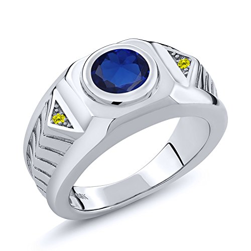 2.53 Ct Blue Simulated Sapphire Canary Diamond 925 Sterling Silver Men's Ring - Canary Bezel