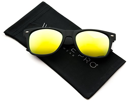 Premium Polarized Wayfarer Style Mirrored Lens Sunglasses (Yellow/Lime Lens, - Polarized Yellow Sunglasses