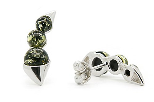 925 Sterling Silver Climber / Crawler Stud Earrings with Green Genuine Natural Baltic Amber.