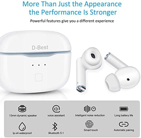 D-Best Wireless Bluetooth Earbuds in-Ear Headphones Earphones HiFi Stereo Deep Bass Build-in Microphone All-Day Comfortable Sport IPX5 Waterproof Tap Control, for All Phones Tablet TV (White)