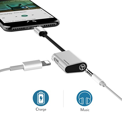 Lightning Splitter for iPhone 7/7 Plus,Wofalodata Lightning to 3.5mm Cable,Lightning Headphone AUX Audio Charge Connector Compatible for iOS 10.3(Silver)