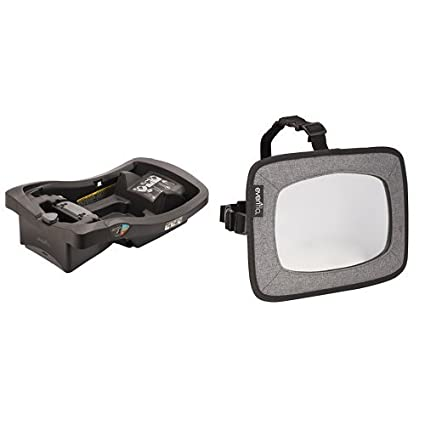 Evenflo LiteMax Infant Car Seat Base, Black with Backseat Baby Mirror for Rear Facing Child, Grey Melange