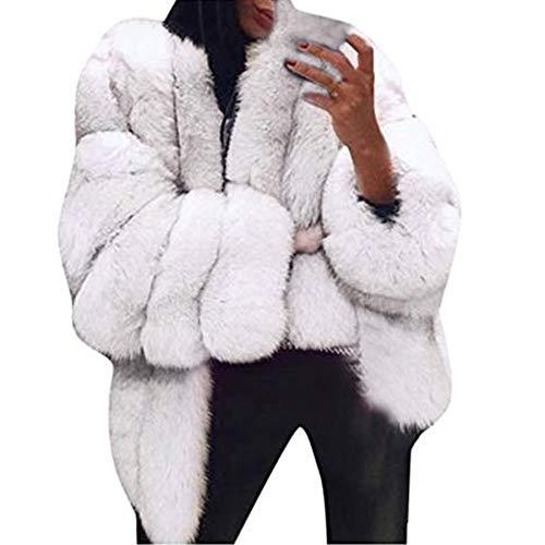 Ultramall Women Plus Size Short Faux Fur Coat Warm Furry Jacket Long Sleeve Outerwear