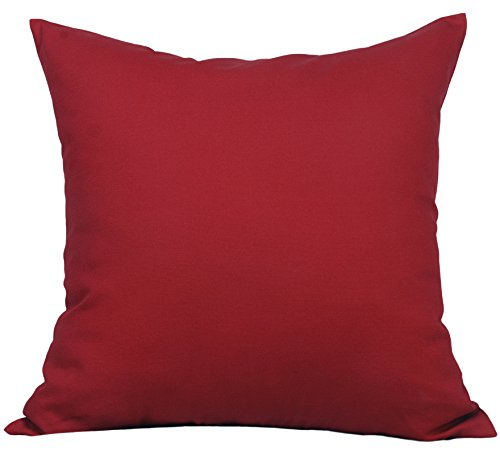 """TangDepot Cotton Solid Throw Pillow Covers, 14"""" x 14"""" , Deep"""