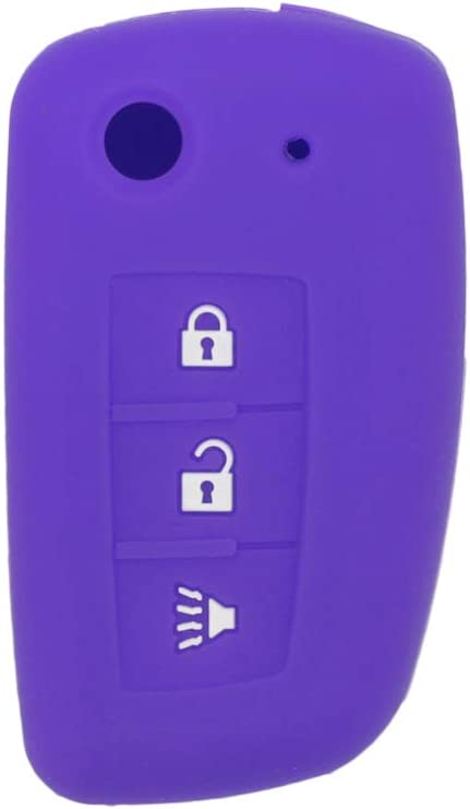 SEGADEN Silicone Cover Protector Case Skin Jacket fit for NISSAN 3 Button Flip Remote Key Fob CV4507 Pink