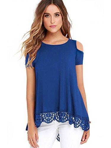 Uniboutique Womens Cold Shoulder Short Sleeve Lace Trim Tunic Tops for Leggings Blue L