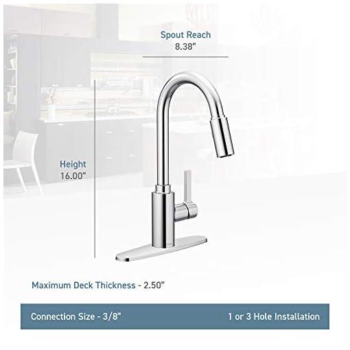 Kitchen Moen 7882BL Genta LX Single-Handle Pull-Down Sprayer Modern Kitchen Faucet with Reflex and Power Boost, Matte Black modern sink faucets