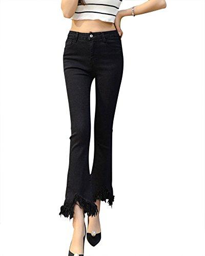 Jeans Strappati Skinny Denim Donne Nero Straight Pantaloni 1wqqBZ