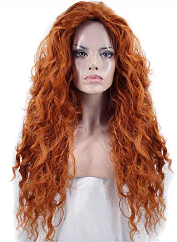 (Hair Cap+ Free Part Long Deep Wave Orange High Temperature Fiber Brave Merida Synthetic Cosplay Wig For Halloween,Orange,26inches,United States)