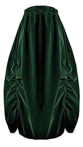 Victorian Valentine Steampunk Gothic Civil War Velvet Bustle Skirt (Green) (Stretch Reversible Skirt)