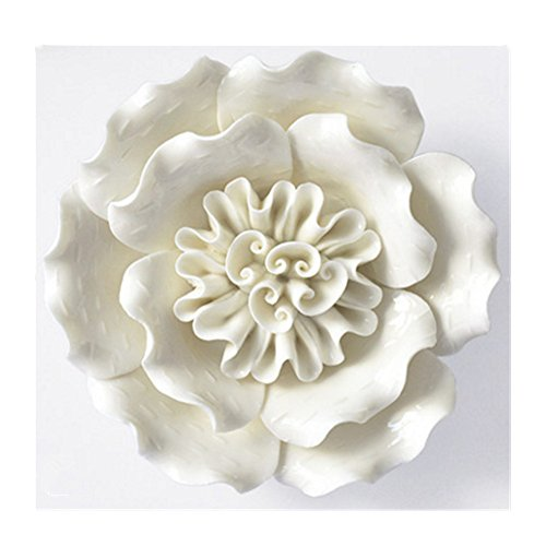 BestBang Handmade Ceramic Flowers Three-Dimensional TV Sofa Background Wall Decorations Creative Living Room Ornaments (White, 5.7'' X 5.5'' X 1.57'')