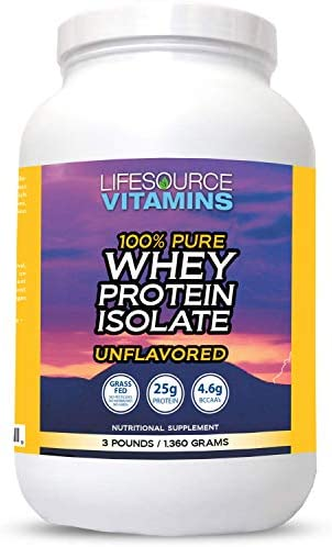 LifeSource Vitamins 3lb Grass Fed Whey Protein Isolate Unflavored