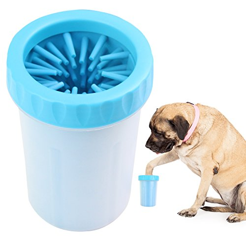 Paw Legend Portable Dog Paw Washer - Pet Paw Cleaner for Dogs,Cats Grooming with Muddy Paws - Comfortable Silicone Dog Feet Cleaner(Blue, L)
