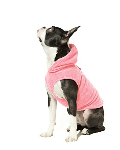 Gooby - Fleece Vest Hoodie, Small Dog Pull Over Hooded Fleece Jacket with Leash Ring, Pink, Medium