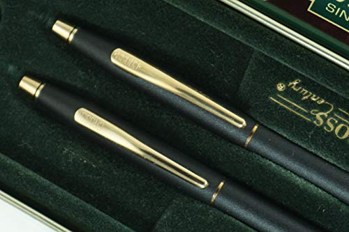 Cross 250105clb Made in The USA Limited 50 Years Anniversary Edition Classic Century Matte Black and 23k Ballpoint Pen and 0.5MM Pencil Set ()