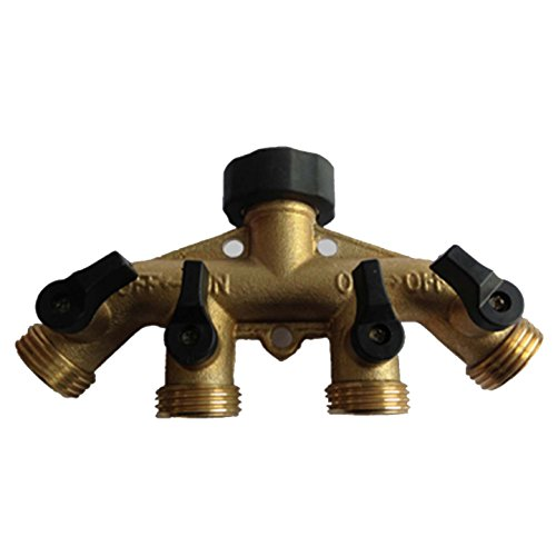 MALIDA Brass Fittings 4 Way Male Quick Release Connector Garden Tap Hose Adapter With 3/4 Brass 4 Way Hose