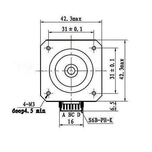 Amazon Com Abele Stepper Motor 42x42x34mm 4 8v 1 5a 6 6w
