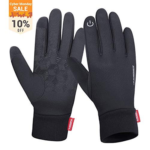 anqier Winter Warm Gloves Windproof Touch Screen Running Cycling Climbing Skiing Gloves Cold Weather Gloves for Men Women(Medium)
