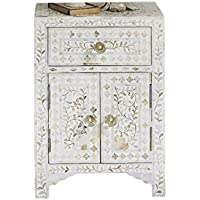 Handmade Bone Inlay Furniture - Side Table Floral Pattern Cabinet (White)