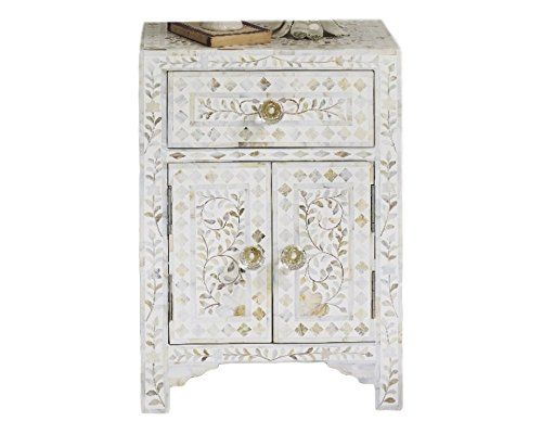 Handmade Bone Inlay Furniture - Side Table Floral Pattern Cabinet (White) (Pearl Tables Of Mother)