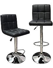 Angel Canada Hexagrid Swivel PU Leather Height Adjustable Hydraulic Bar Stool Pub Chair Kitchen Island Counter, with Backrest