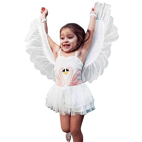 YOUNGER TREE Baby Kids Girl Winged Sleeveless Princess Dress Party Skirts Costume Clothes (3-4 Years, White Winged Tulle Tutu -