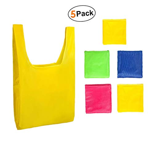 Eco Friendly Reusable Shopping/Grocery Bags (5 pack)-Lightweight Nylon Fabric Bags by ALDI kitchen (MultiColor)