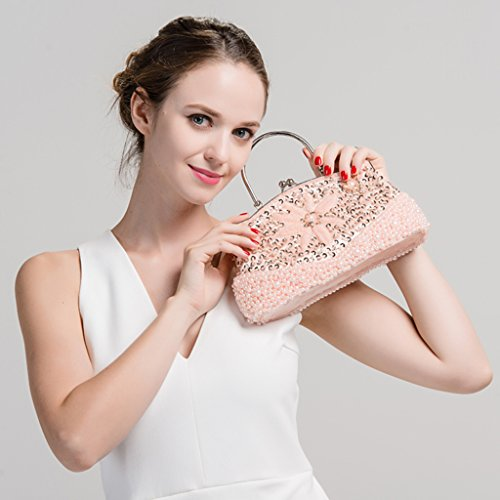 Purse Pink Ladies Homyl Bag Womens Beaded Clutch Cheongsam Shoulder Bag Party Evening If7Zq