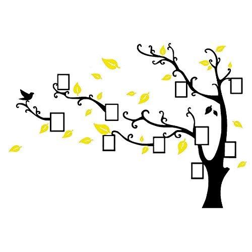 eDealMax acrlico decoracin del sitio de la foto del rbol Diseo auto-adhesivo del papel pintado 3D etiqueta de la pared amarilla