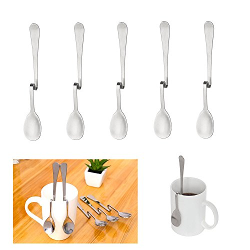 Bent Handle Spoon - 5 Pcs Coffee Spoons, Stainless Steel Bending Hanging Creative Coffee Spoons Dessert Spoons Tea Coffee Scoops