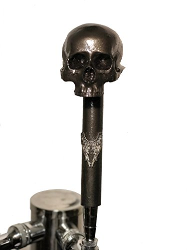 Custom skull beer tap handle for kegerators resin on metal gray without jaw tall with ferrule 12in (unique gift idea for Christmas, husband gift)