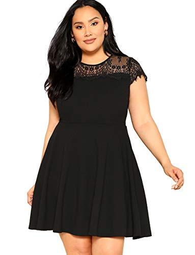 - Romwe Women's Plus Size Retro Vintage Lace Floral Cap Sleeve Slim Fit and Flare Swing Party Dress Black 0XL