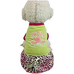 WEUIE Puppy Clothes Dog Cat Sport Dress Skirt Pet Puppy Dog Princess Costume Apparel Clothes (S, Green)