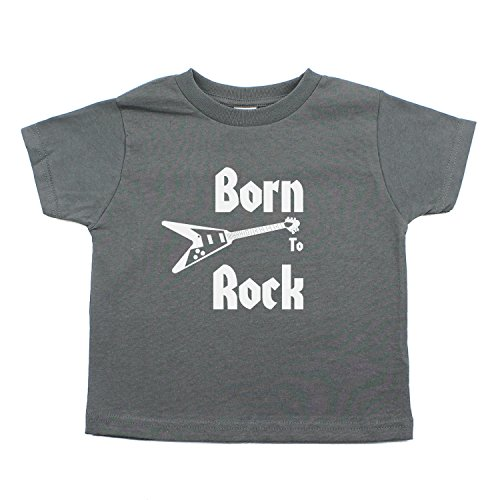 (Crazy Baby Clothing Born to Rock Band-Guitar Rockstar Kids Toddler Short Sleeve T-Shirt in Charcoal Gray, 3T)