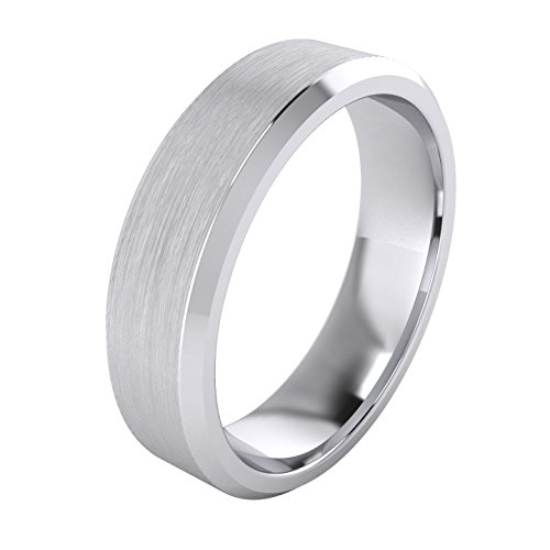 (Heavy Solid Sterling Silver 6mm Flat Court Shape Matt Centre Polished Bevel Edges Mens Wedding Ring Plain Band)