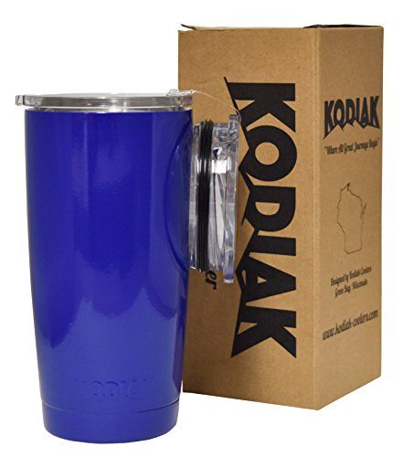 Kodiak Coolers Vacuum Insulated Tumbler Two Lids - Stainless Steel Double Wall - Thermal Coffee Travel Cup Rambler Mug Thermos - Compare to Yeti & Rtic - Hold Ice Over 24 Hour (Royal Blue, 20 oz)