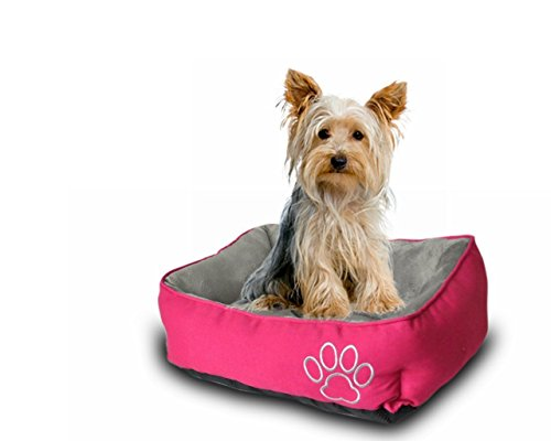 Pet Paw Pet Bed for Cats and Small Dogs High Quality/Fade resistance- Improved Sleep -Machine Washable- Waterproof Bottom- Pink