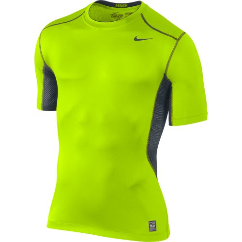 Men's Nike Pro Combat Hypercool 2.0 Fitted Short Sleeve Shirt Volt/Black/Black Size Large