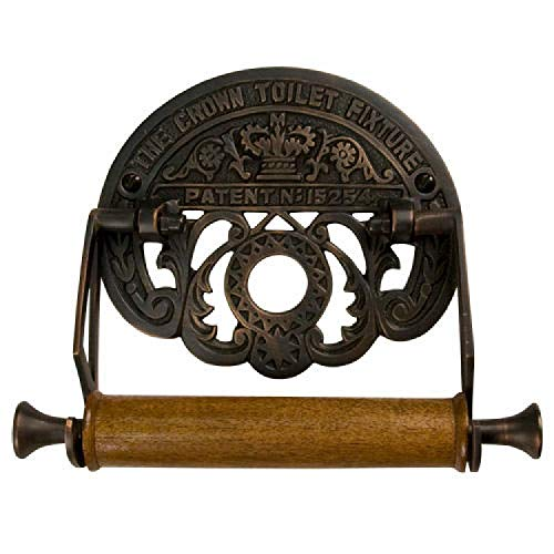 SH Naiture Crown Toilet Fixture Solid Brass Wall Mount Toilet Single Roll Holder Paper Dispenser Decorate Base Oil Rubbed Bronze Finish